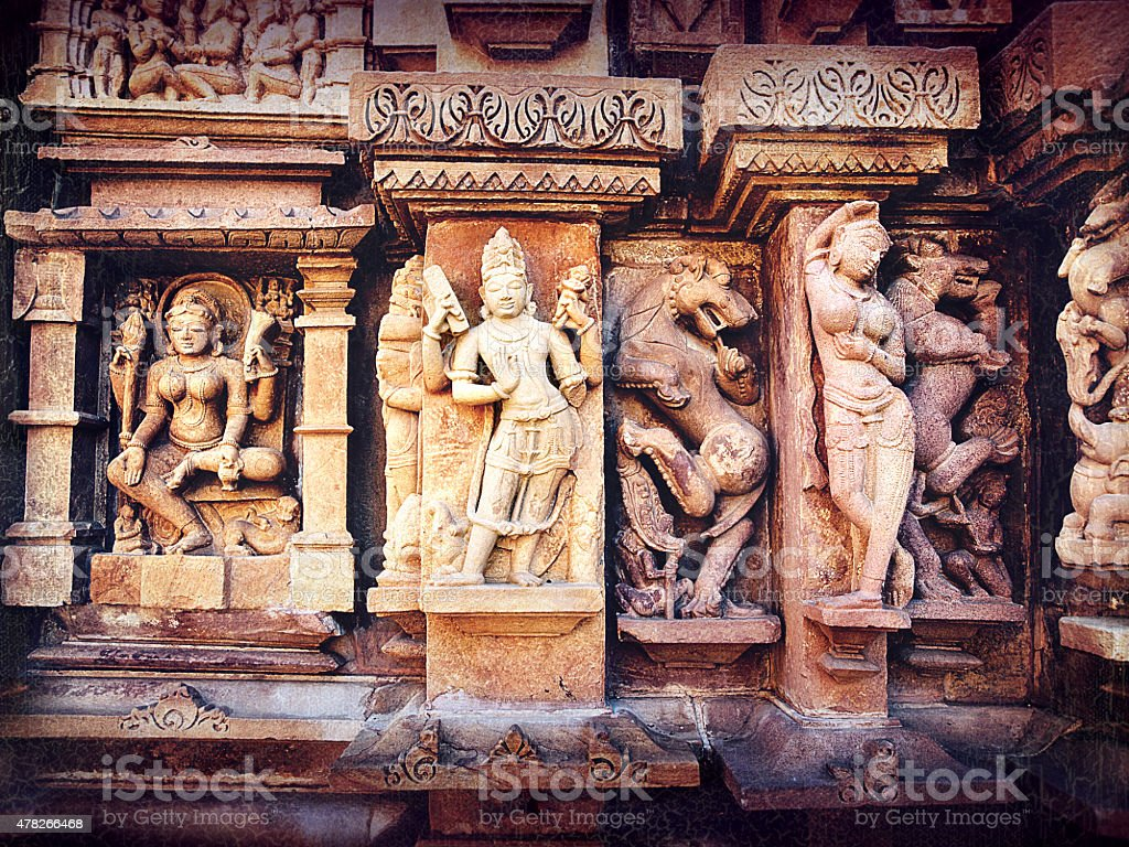 Khajuraho statues, Retro style stock photo