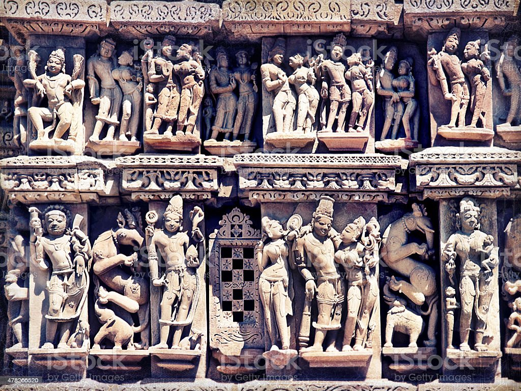 Khajuraho statues, Retro style stock photo