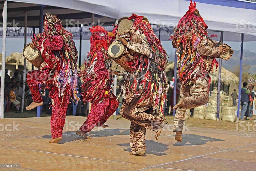 Khamti, Khampti Tribes performing Traditional Cock Dance stock photo
