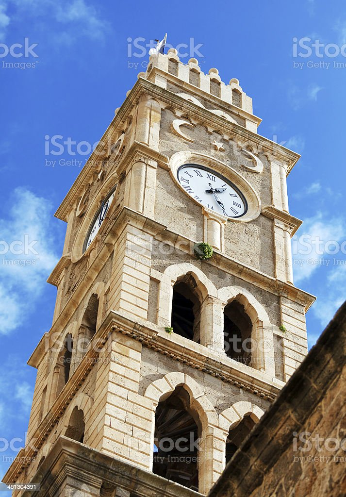 Khan al-Umdan Clock Tower, Acre royalty-free stock photo