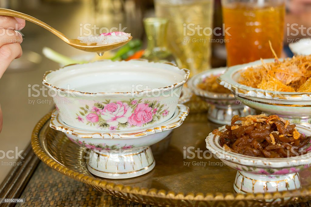 'Khao Chae' traditional Thai food. stock photo