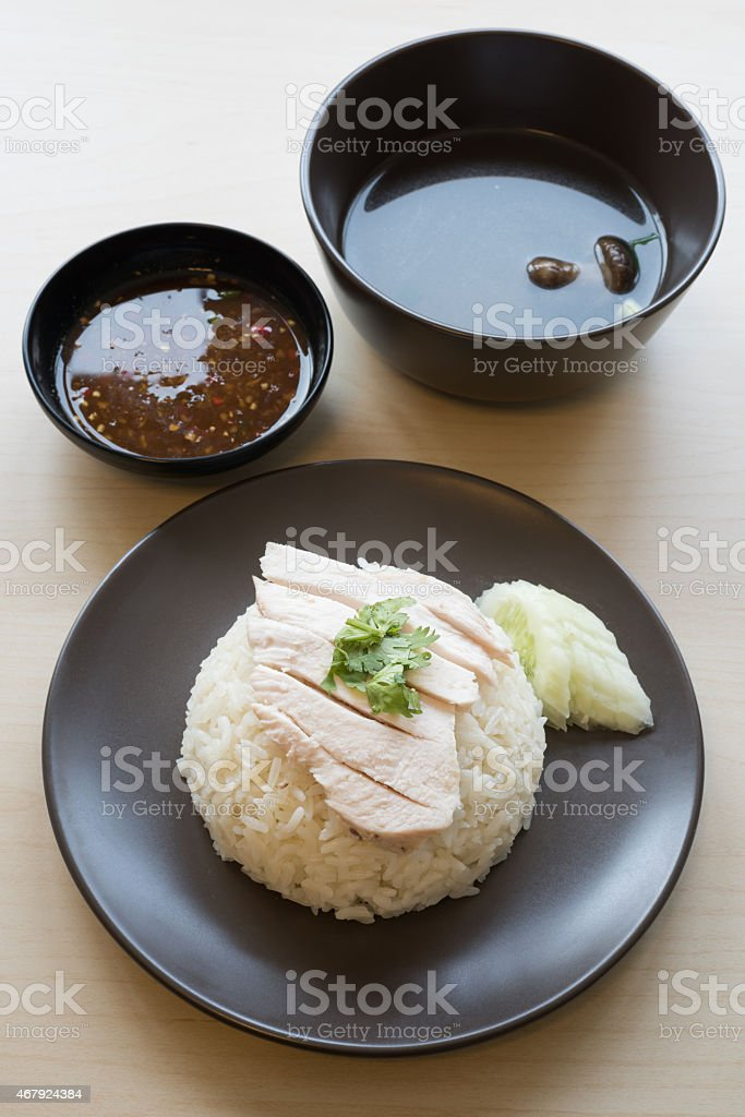 Khao mun kai , Thai food steamed chicken with rice. stock photo