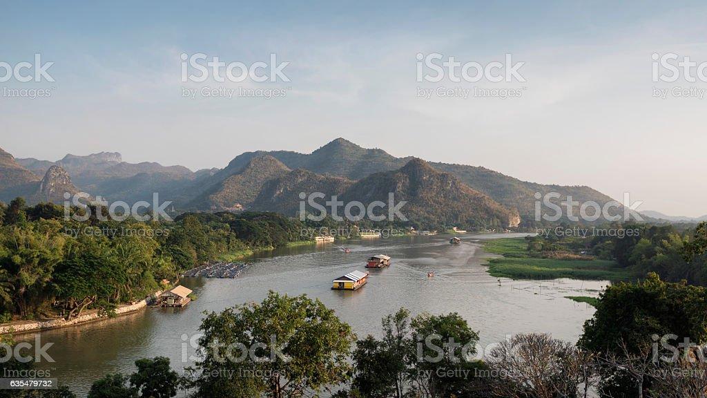 Khao Noi and Khwae Noi River Bend, Kanchanaburi, Thailand stock photo