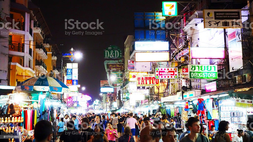 Khao San Road at Night stock photo