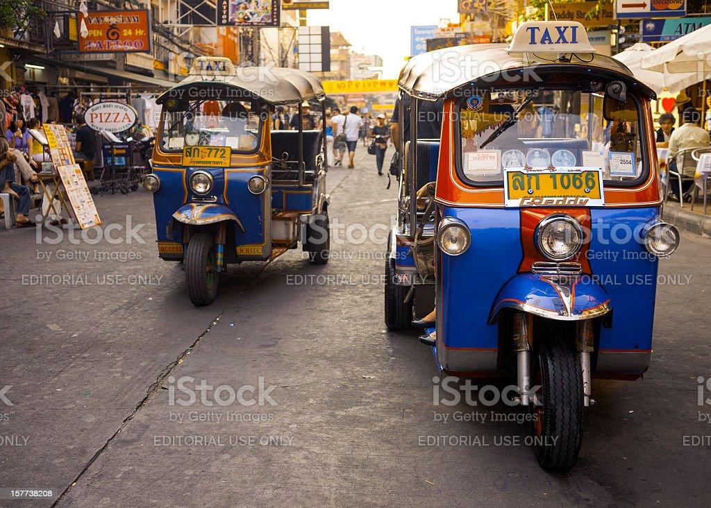 Khao San Road tuk-tuks, Bangkok, Thailand stock photo