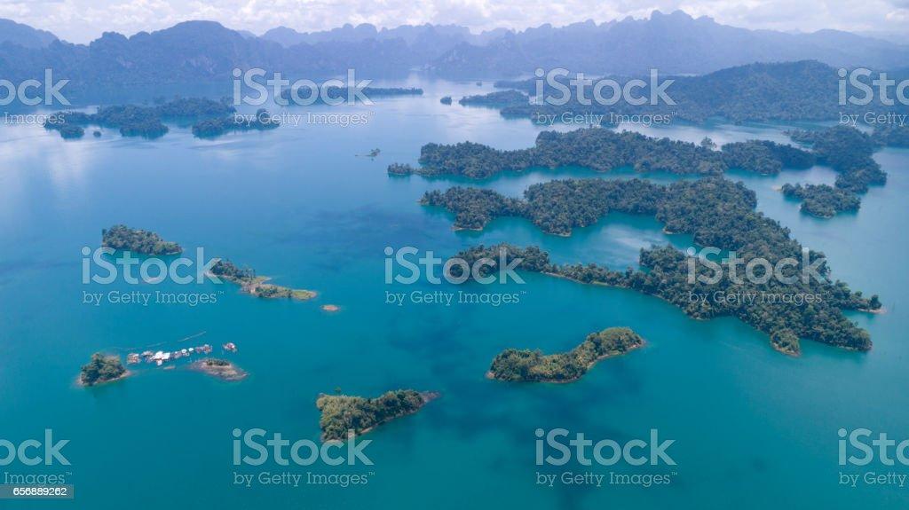 Khao Sok Nationalpark, Lake Ratchaprapha, Thailand - Aerial View stock photo
