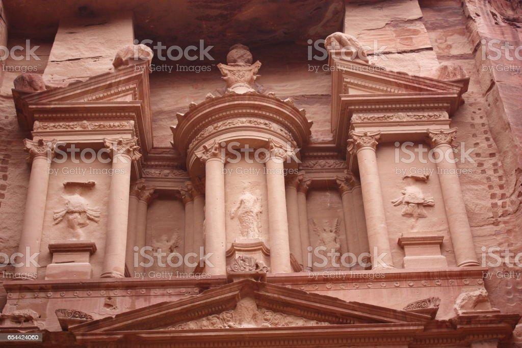 Khazne al-Firaun Treasure house in the rocky city of Petra in Jordan, Middle East stock photo