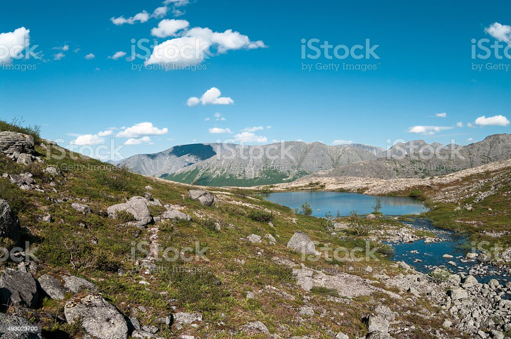 Khibiny mountain landscape with highland lakes stock photo