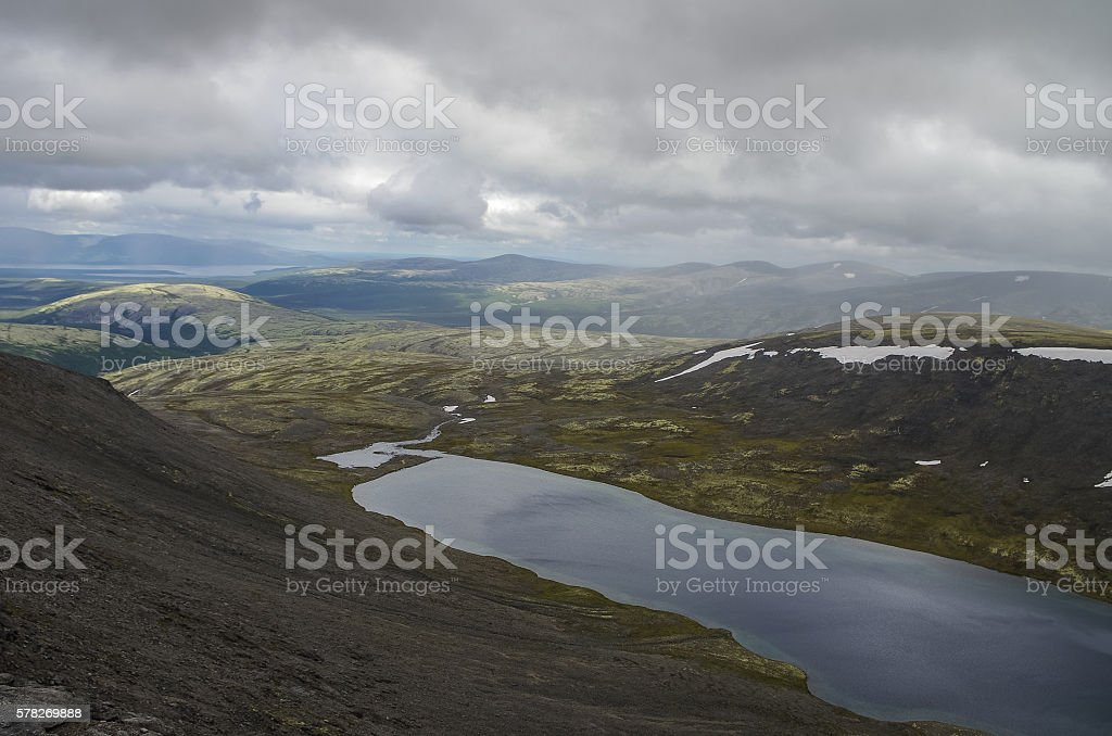 Khibiny mountains above the Arctic circle, Kola peninsula stock photo