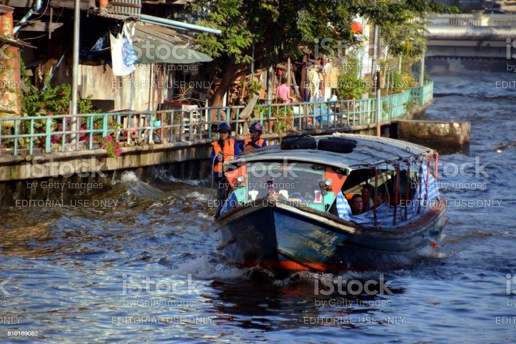 Khlong Saen Saep boat express, Bangkok City, Thailand stock photo