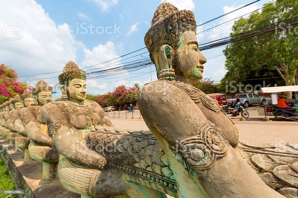 Khmer statue in temple in Siem Reap, Cambodia stock photo
