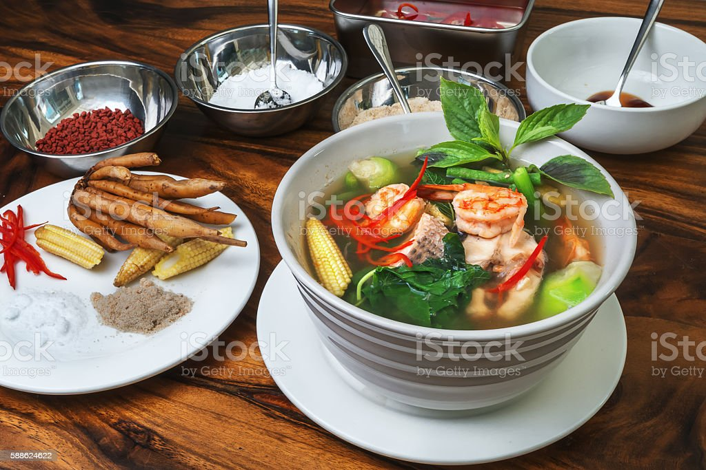 Khmer Vegetable and fish Soup stock photo