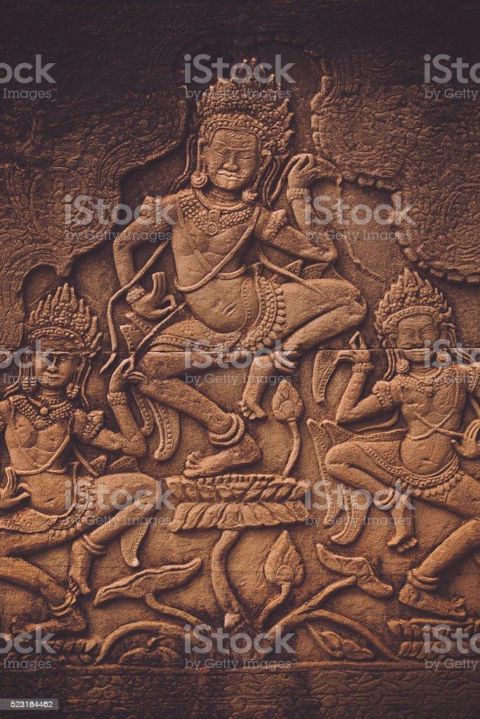 Khmer wall art stock photo