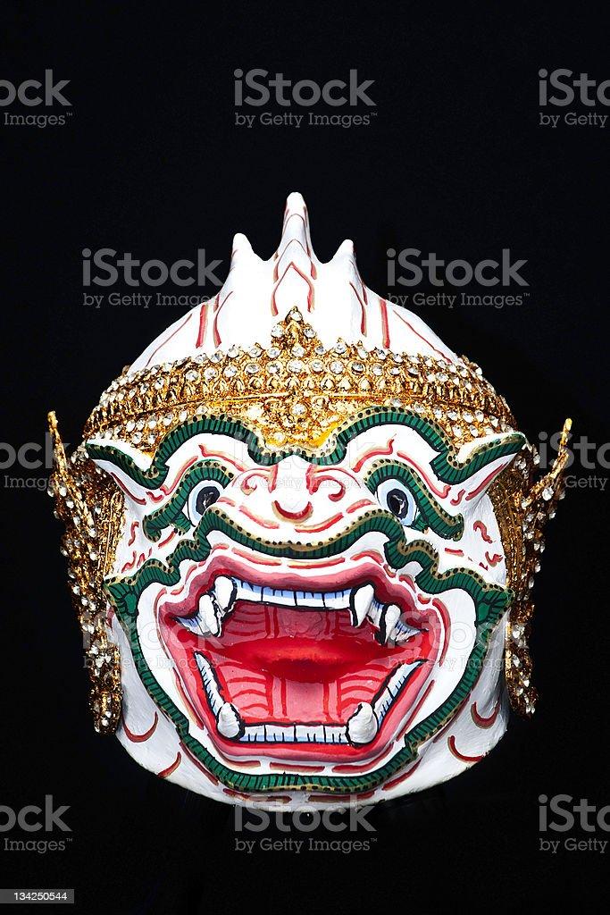 Khon, great white Małpa człekokształtna Maska Hanumana (Głowa zbiór zdjęć royalty-free