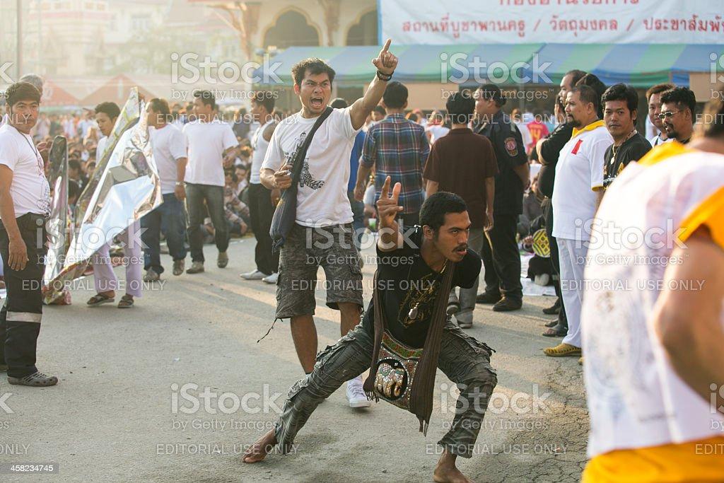 Khong Khuen - spirit possession in Wat Bang Pra monastery royalty-free stock photo