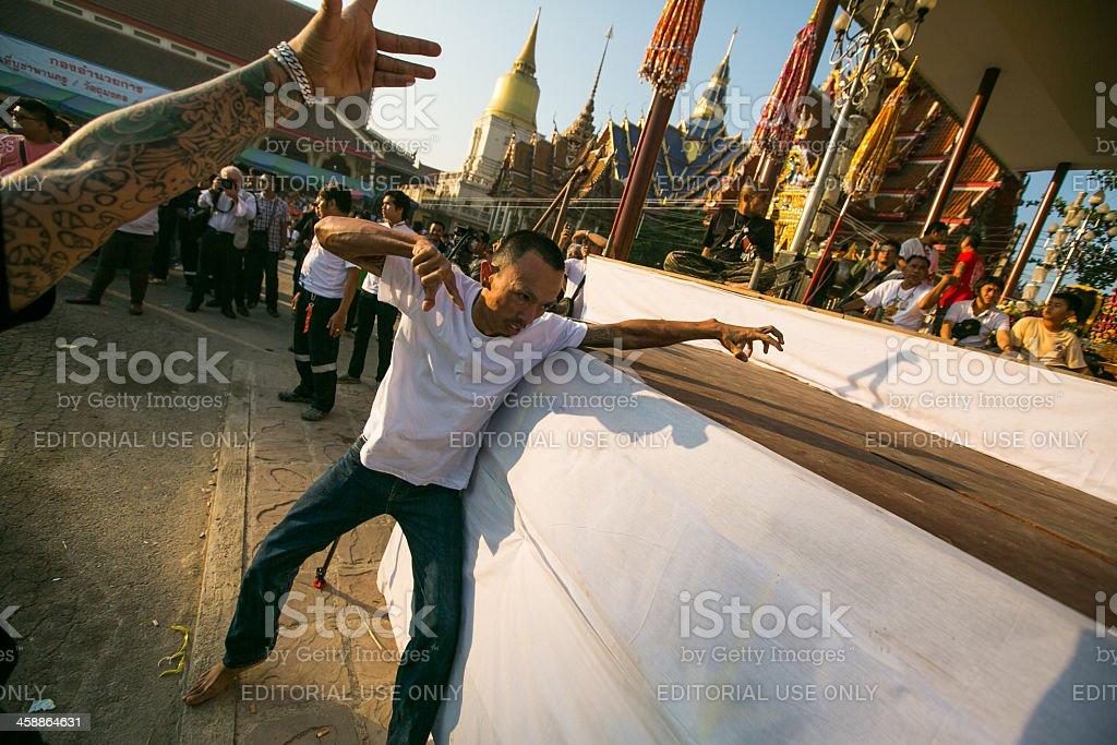 Khong Khuen - spirit possession in Wat Bang Pra monastery stock photo