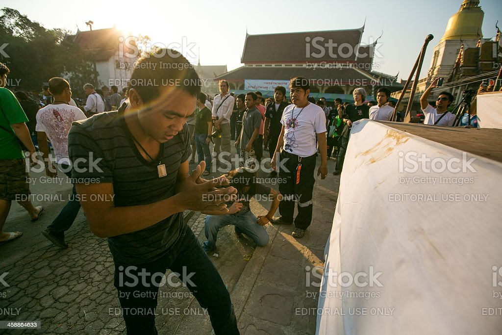 Khong Khuen - spirit possession in Wat Bang Pra monastery royalty-free stock photo