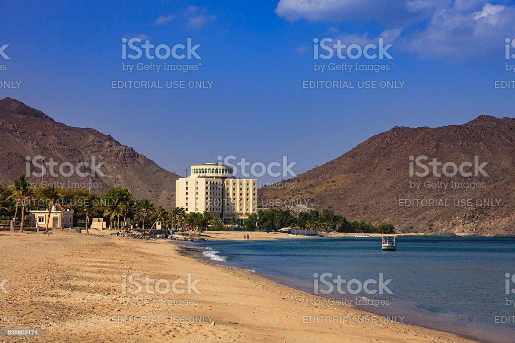 Khor Fakkan, UAE: Idyllic Beach and Hotel on Arabian Sea. stock photo