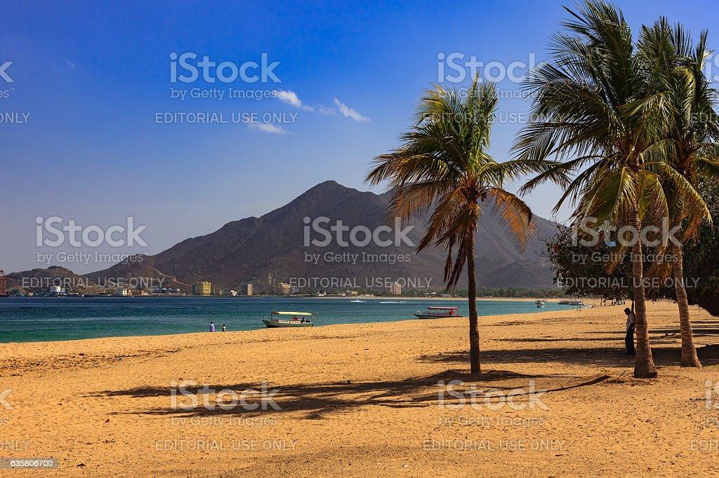 Khor Fakkan, UAE: Sandy Beach and Shoreline stock photo