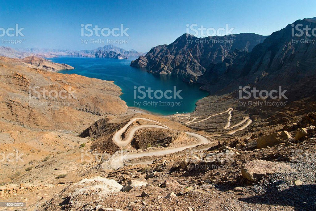 Khor (fjord) in Musandam, Oman stock photo