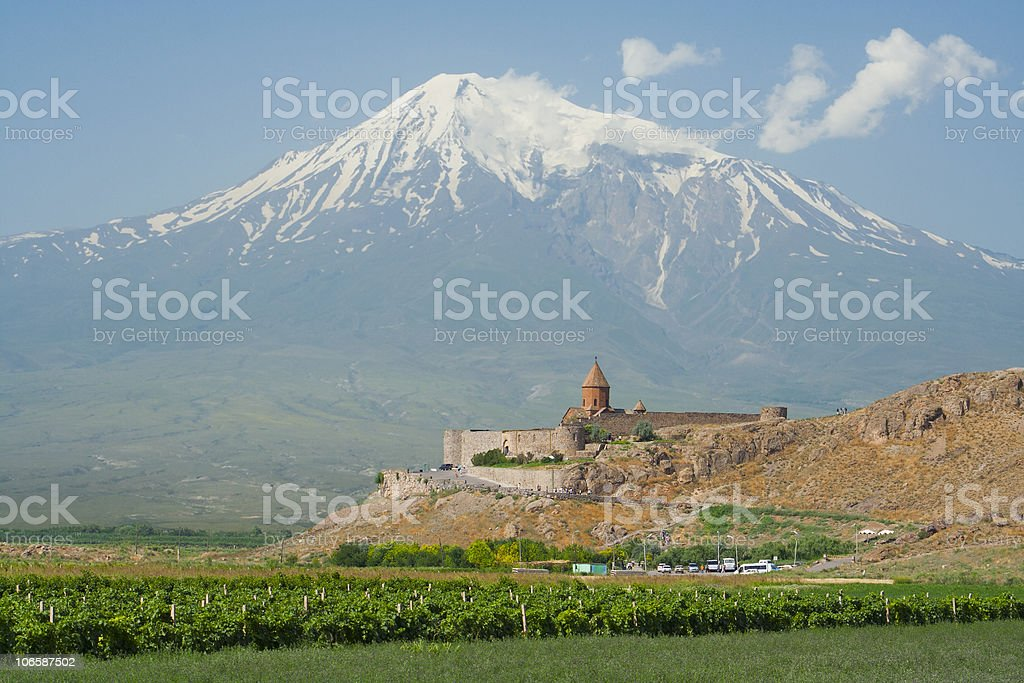 Khor Virap church and Mt Ararat, Armenia royalty-free stock photo