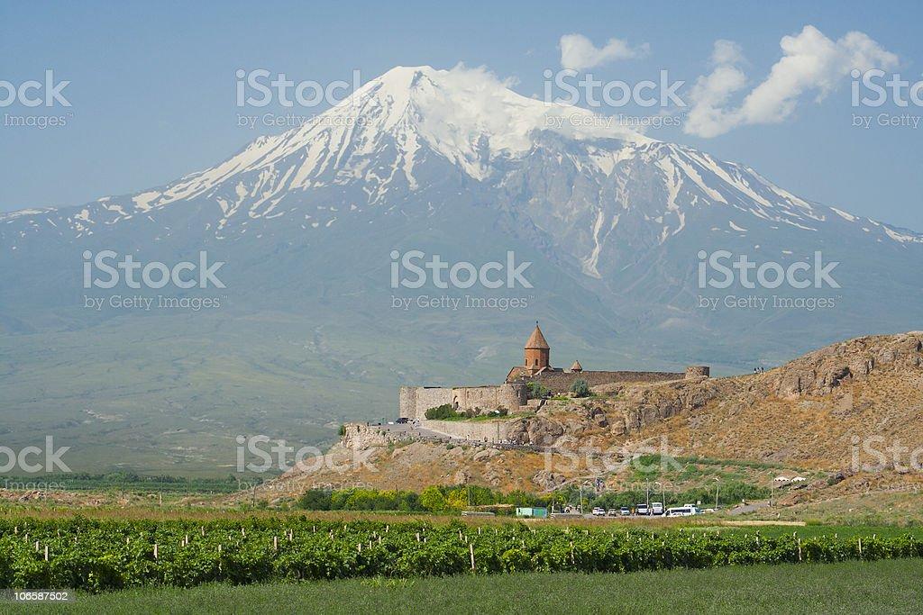 Khor Virap church and Mt Ararat, Armenia stock photo