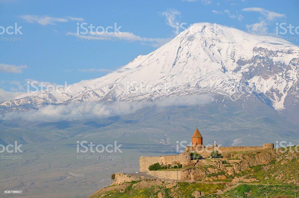 Khor Virap monastery and Mount Ararat, Armenia stock photo
