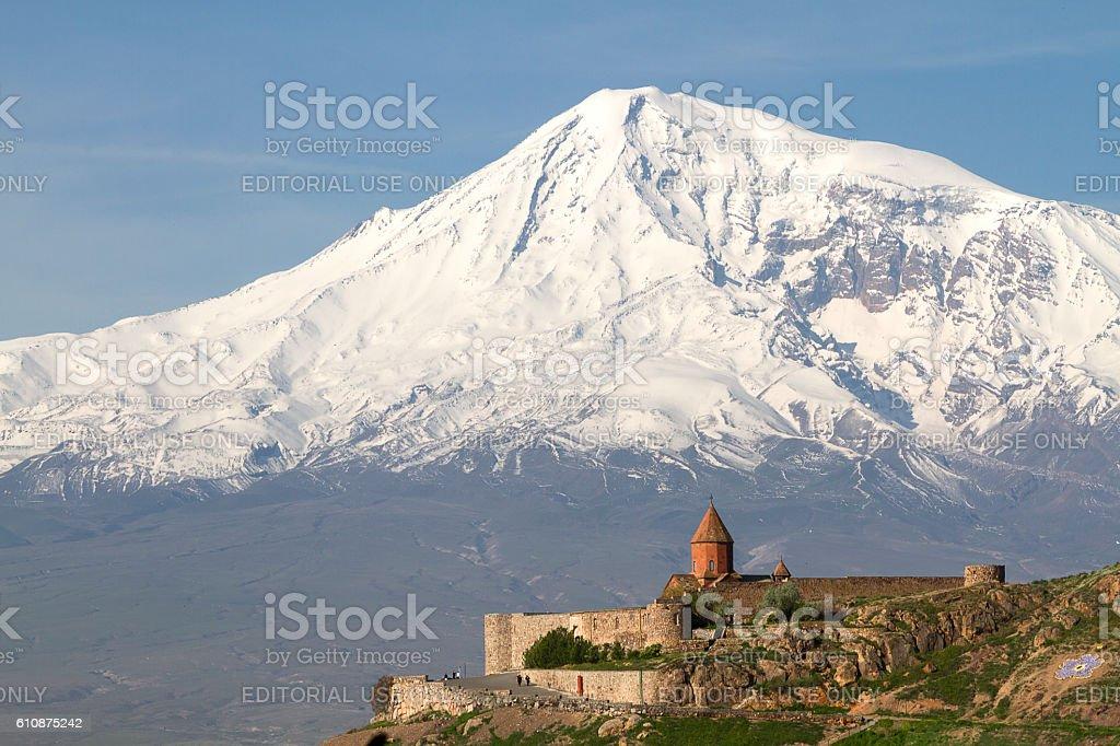Khor Virap Monastery in Artashat, Armenia. stock photo