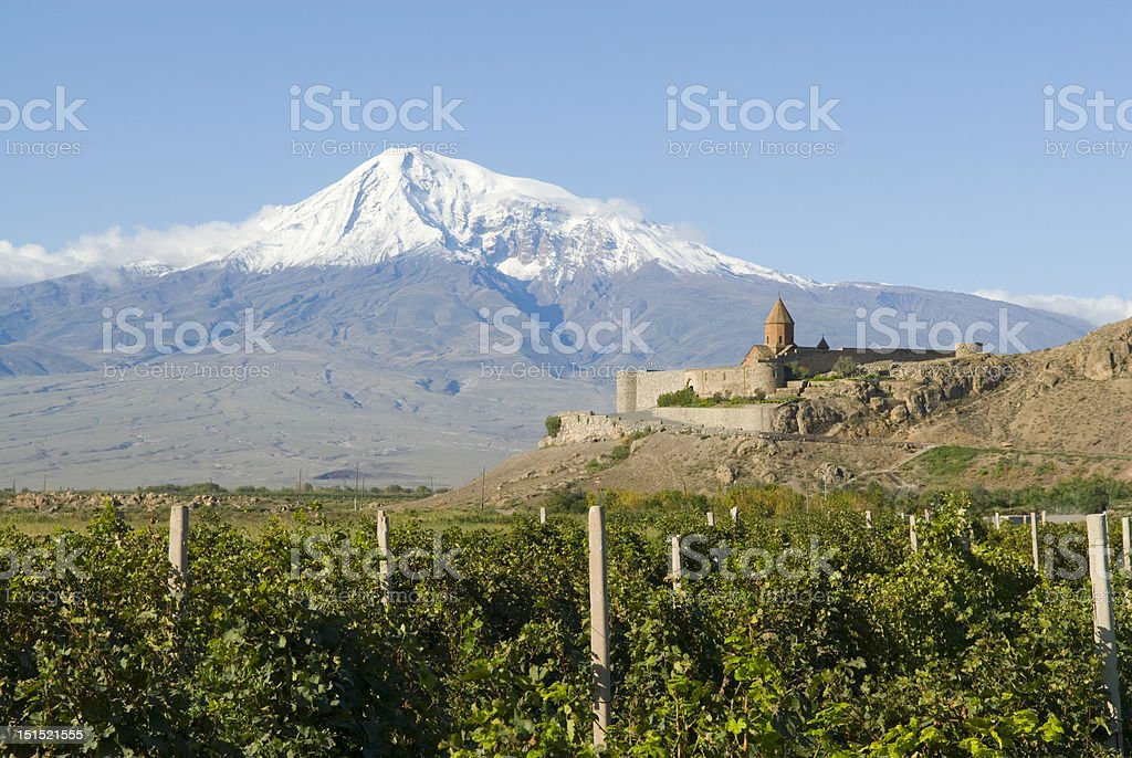 Khor Virap Monastery with Mt. Ararat behind it stock photo