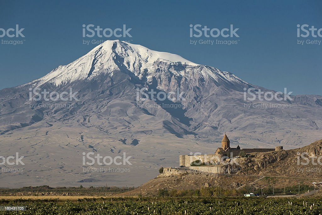 Khor Virap the ancient Armenian church in front of mountain royalty-free stock photo