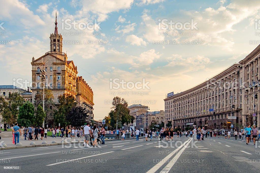 Khreshatyk Street on a weekend in Kiev. stock photo