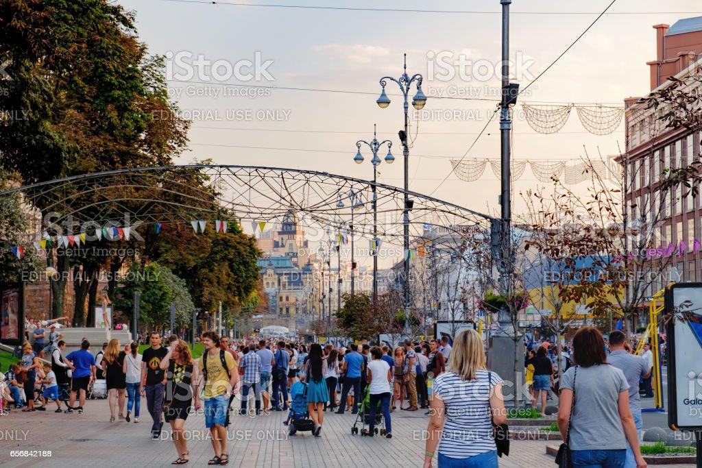 Khreshatyk Street on a weekend in Kiev stock photo