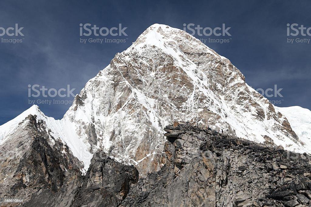 khumbu valley, and pumo ri peak - trek to Everest stock photo