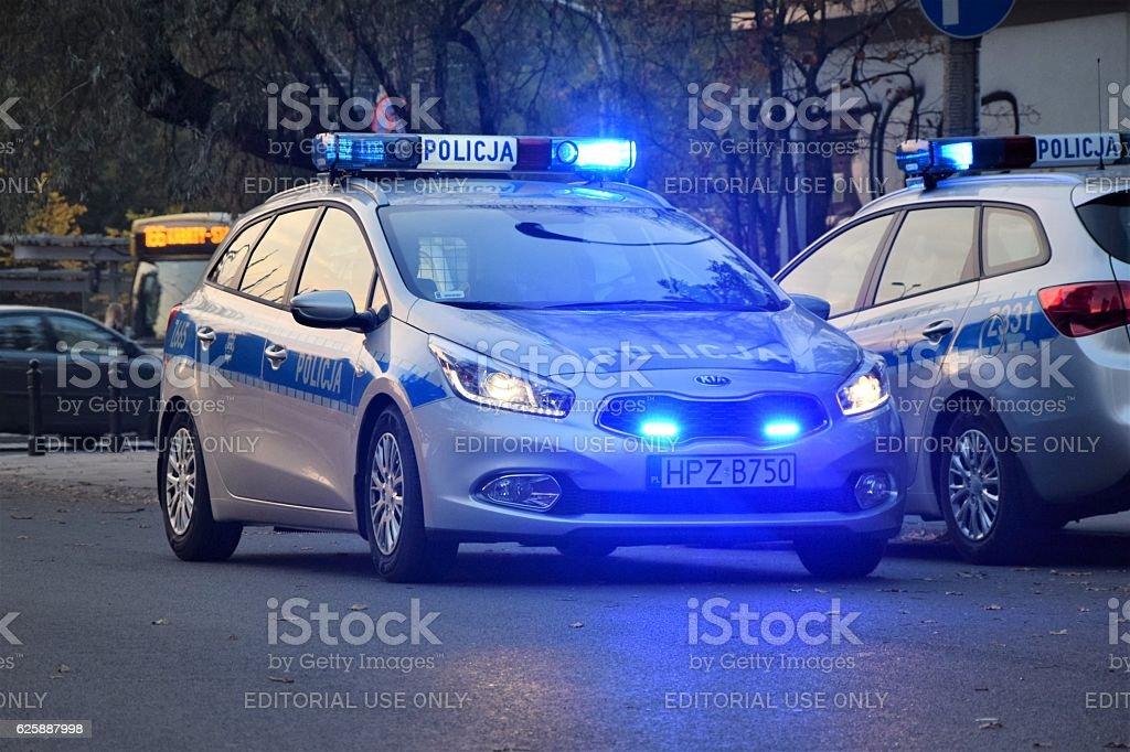 Kia cee'd SW police car on the street stock photo