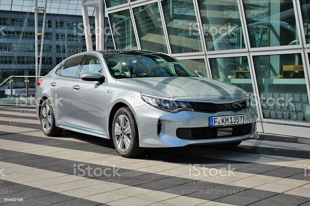 Kia Optima - plug-in hybrid sedan stock photo