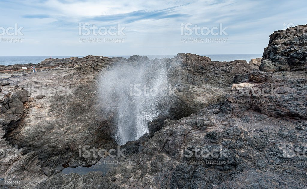 Kiama Blowhole in Sydney with Blue Sky. Australia stock photo