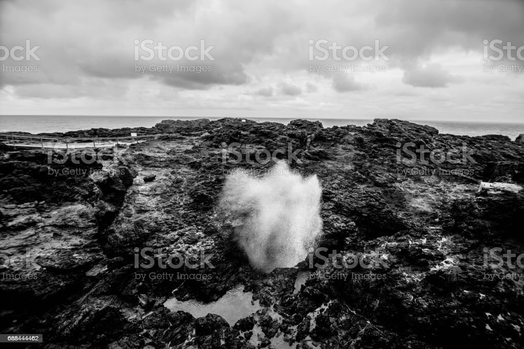 Kiama blowhole phenomenon. Black and white. stock photo