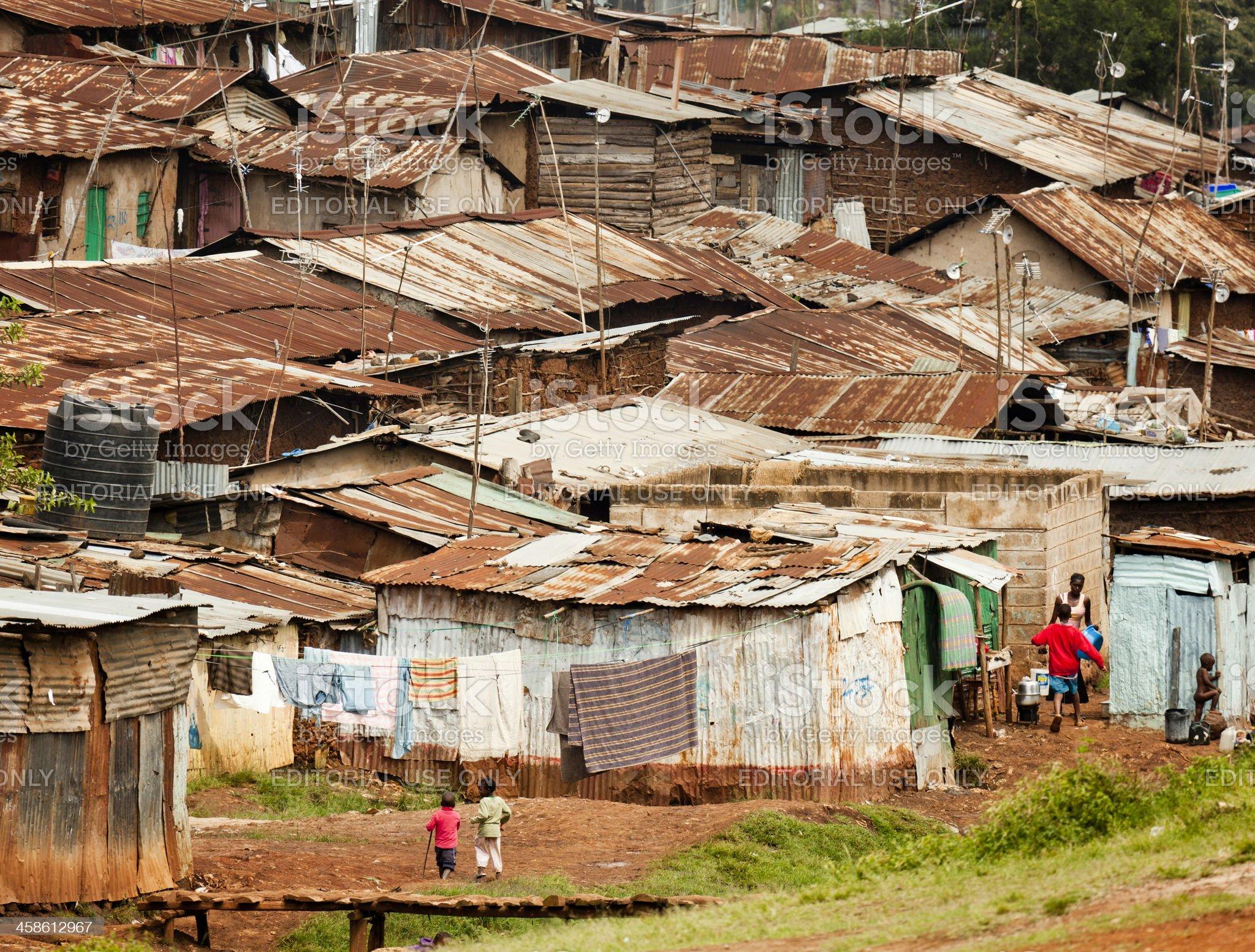 Kibera, a Neighborhood in Nairobi, Kenya royalty-free stock photo