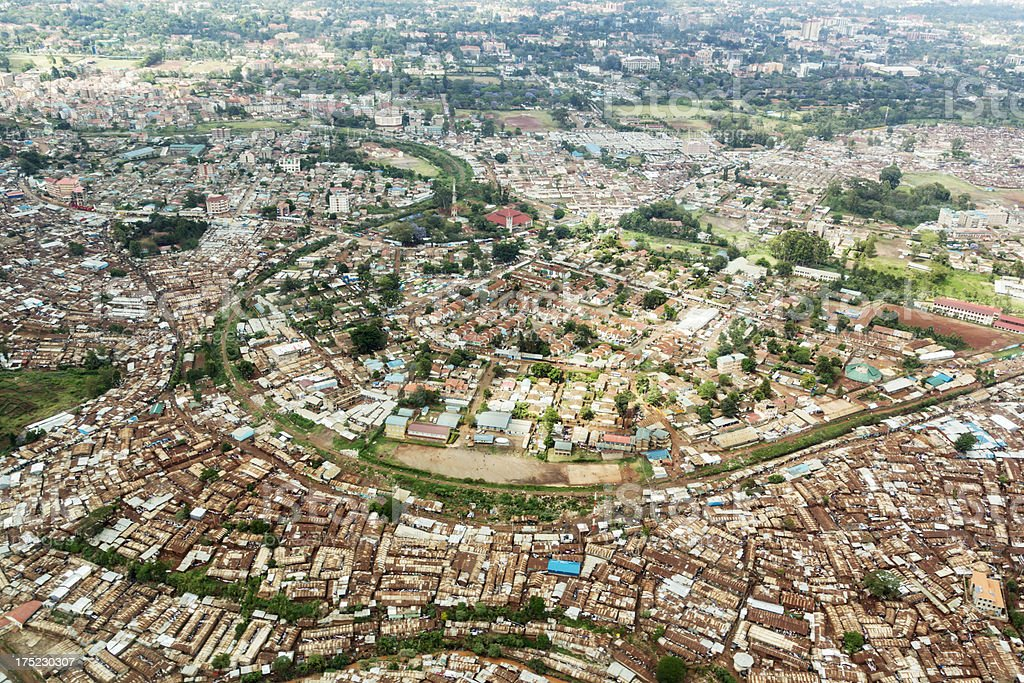 Kibera, slum area in Nairobi from above. stock photo