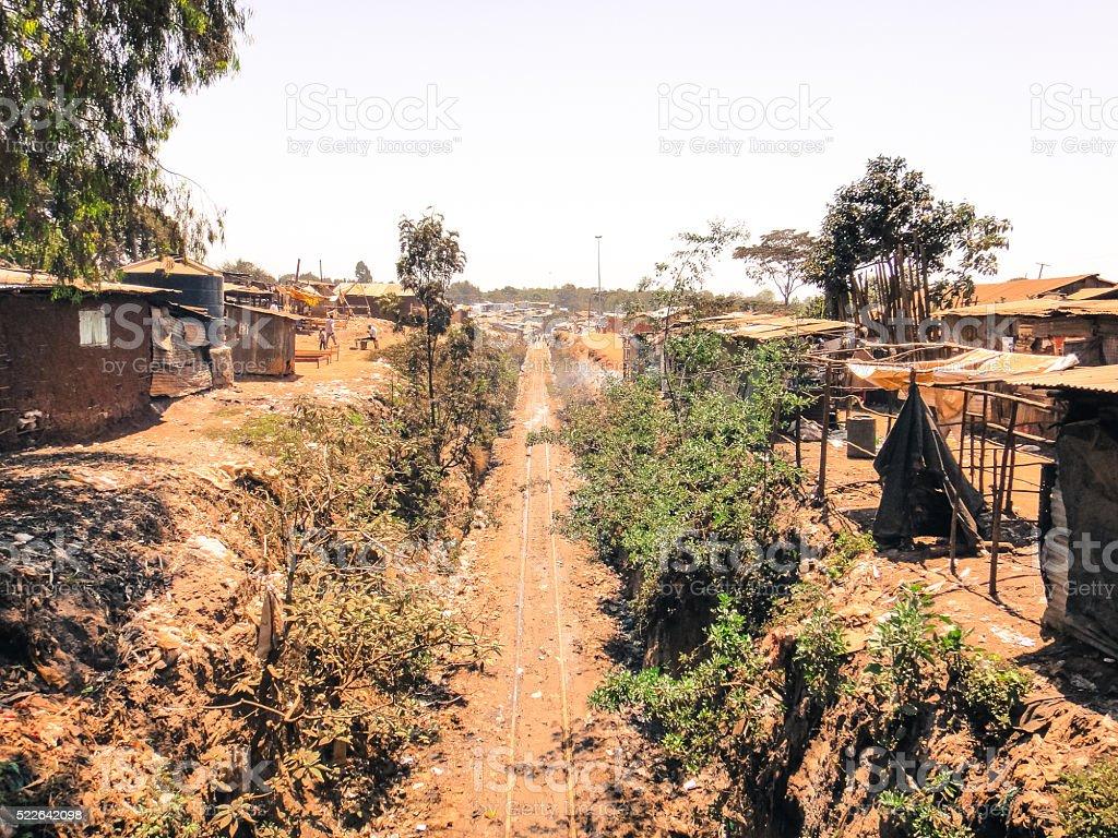 Kibera slum - the largest slum in Kenya and Africa stock photo