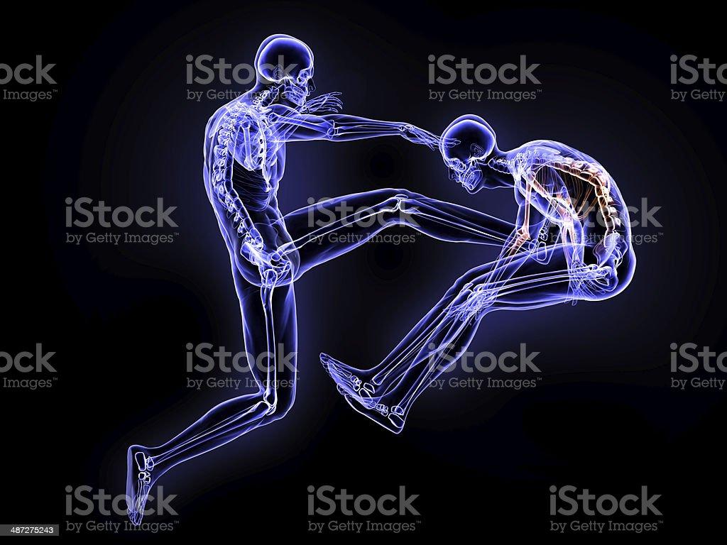 Kick and Broken Bones stock photo