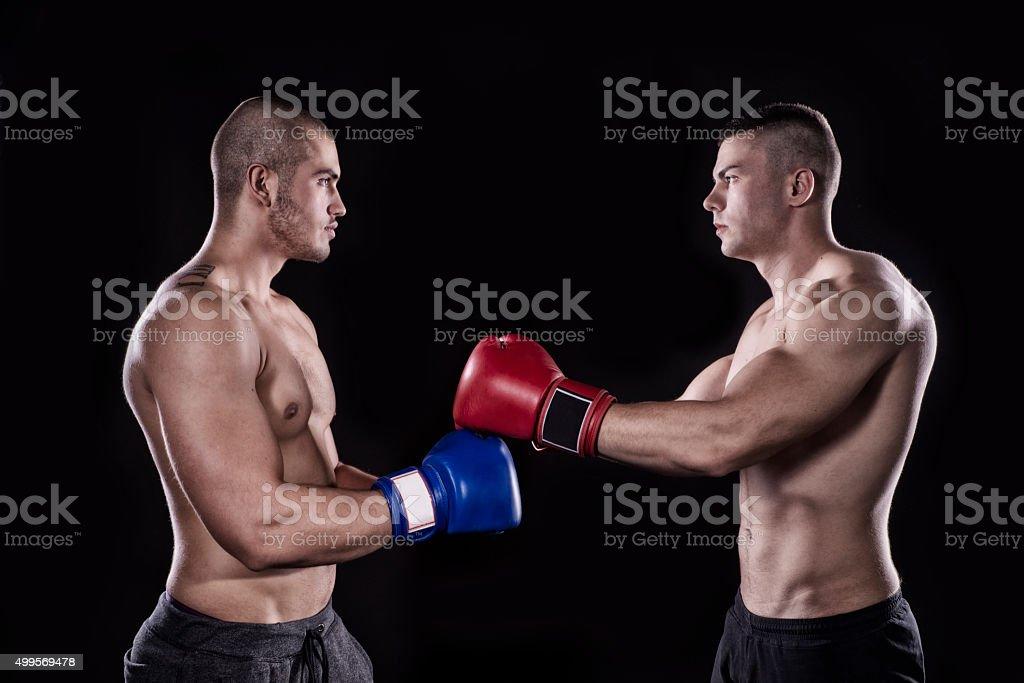 Kick box sparring stock photo