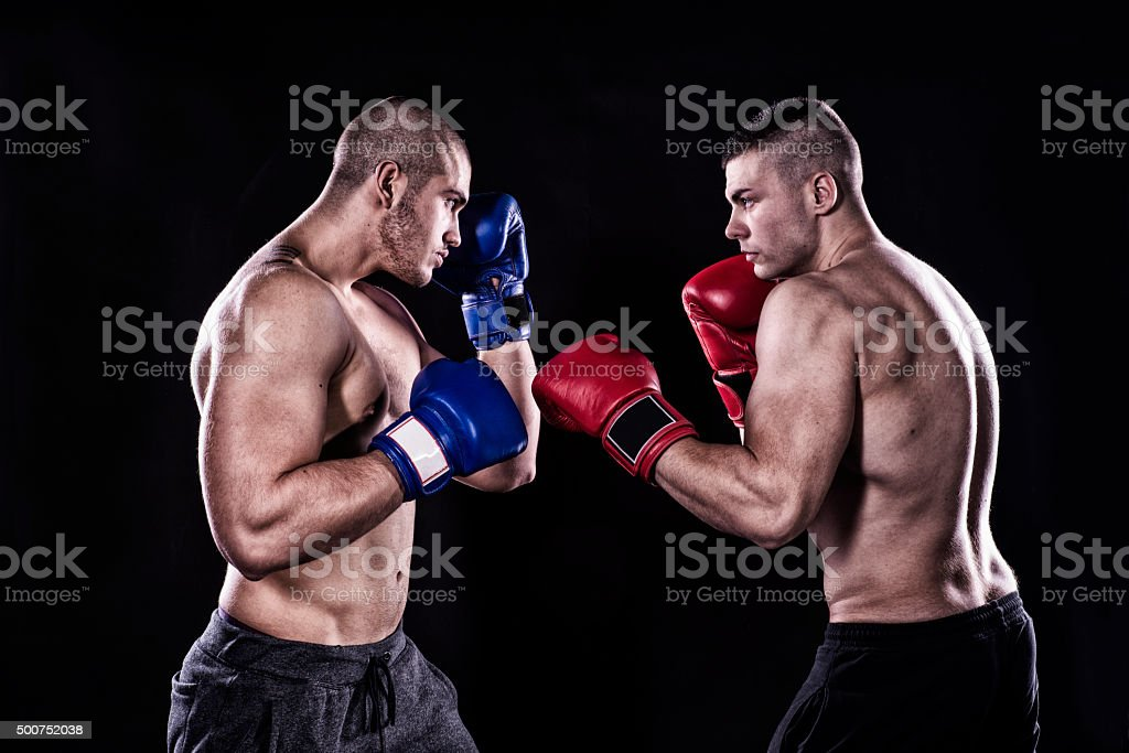 Kick box sparring stock photo