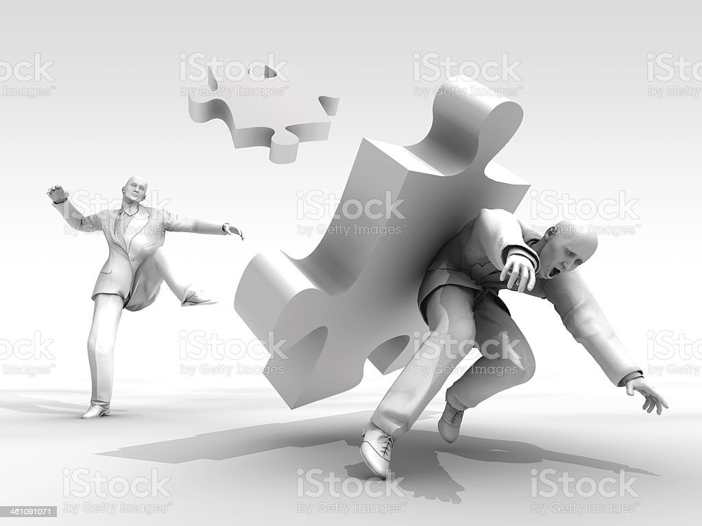 Kick to puzzle! royalty-free stock photo