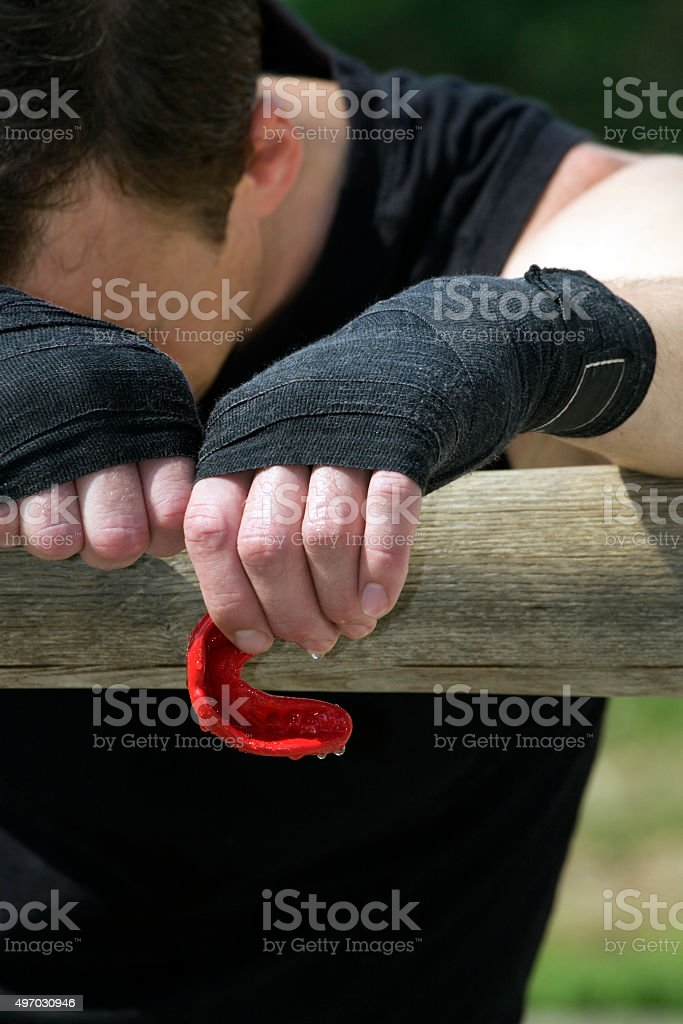 Kickboxer or muay thai fighter equips and trains outdoor stock photo