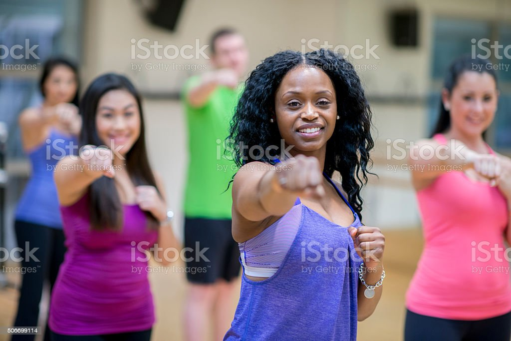 Kickboxing Class at the Gym stock photo