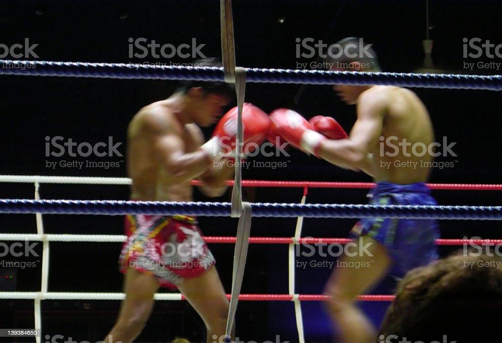 Kickboxing or Muay Thai match stock photo