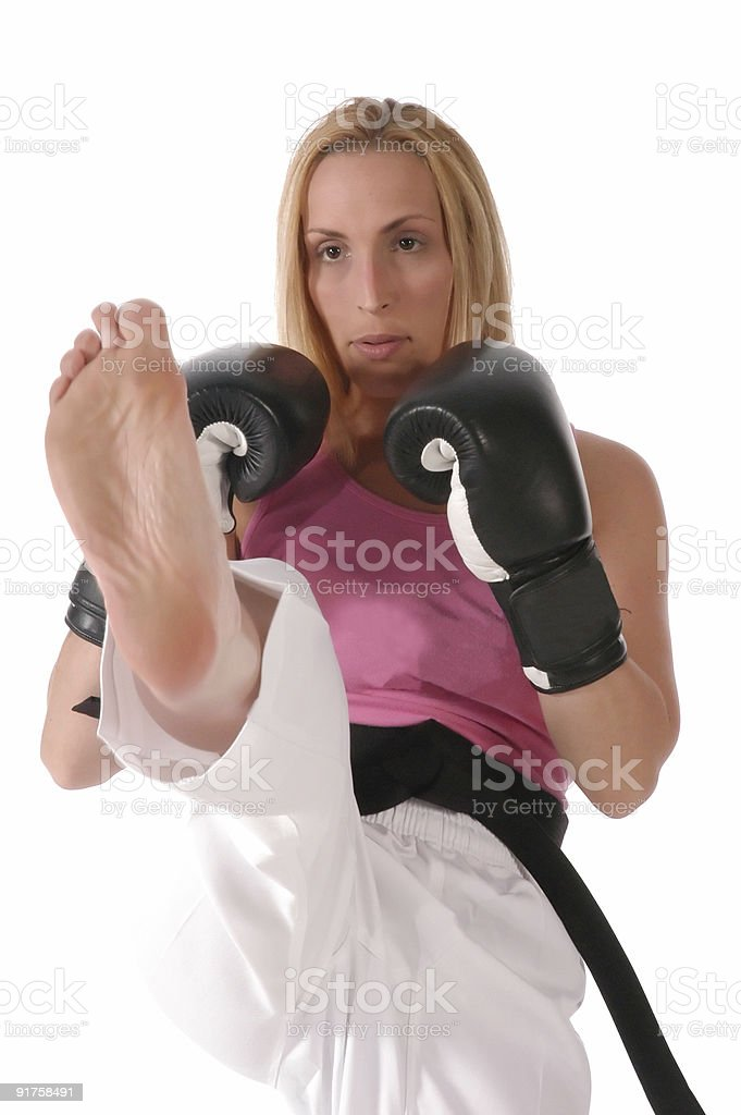 Kickboxing practice stock photo