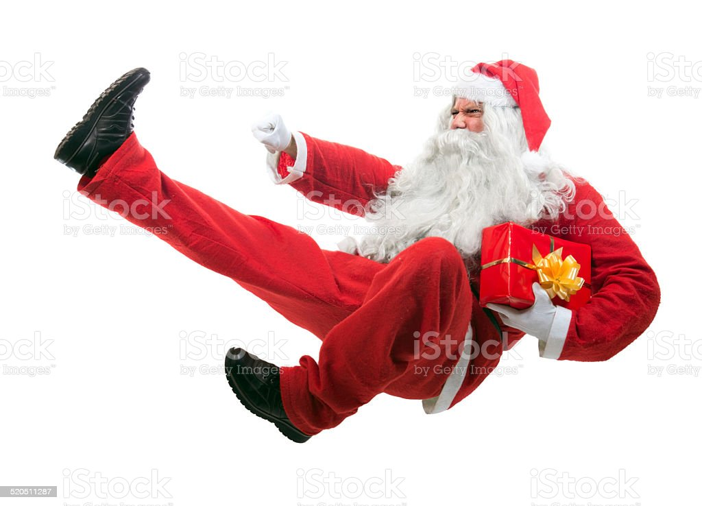 Kickboxing Santa Claus stock photo