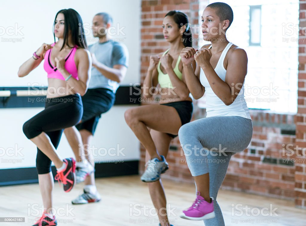 Kickboxing Together at the Gym stock photo